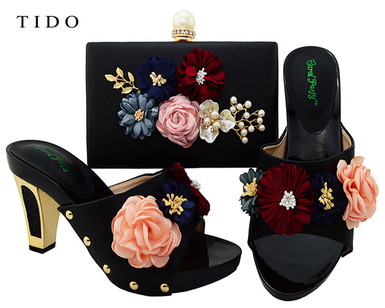 Latest Fashion African Party Shoes 3D Flower Italian Shoes Matching Bag Set for Women