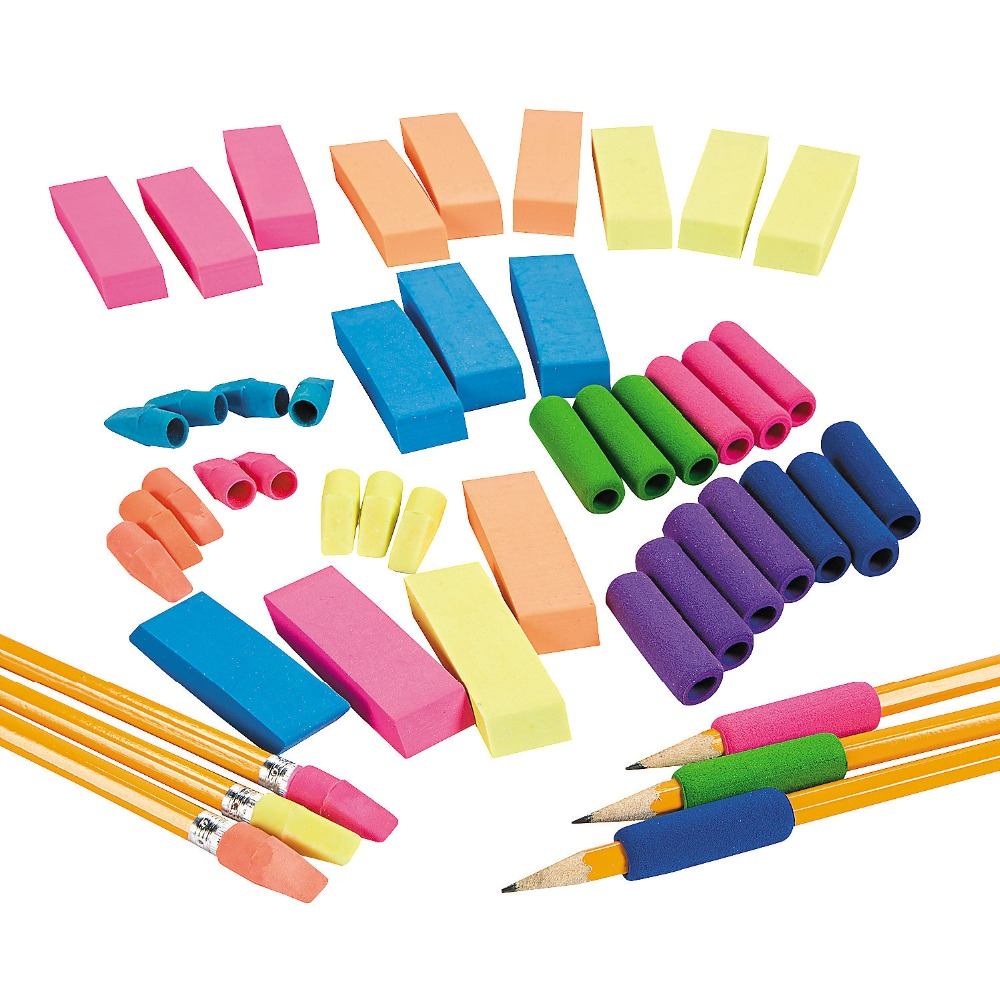 Funny Office and School Supplies Promotional Custom Cheap Colorful Rubber Pencil Grips, Erasers and Toppers Novelty Stationery