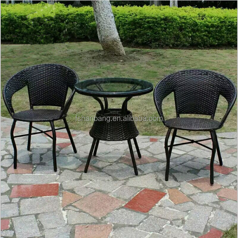 Small Wicker PE Plastic Restin Rattan Outdoor 60cm Table Chairs Set