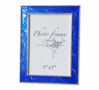 blue enamel marble metal picture photo frame