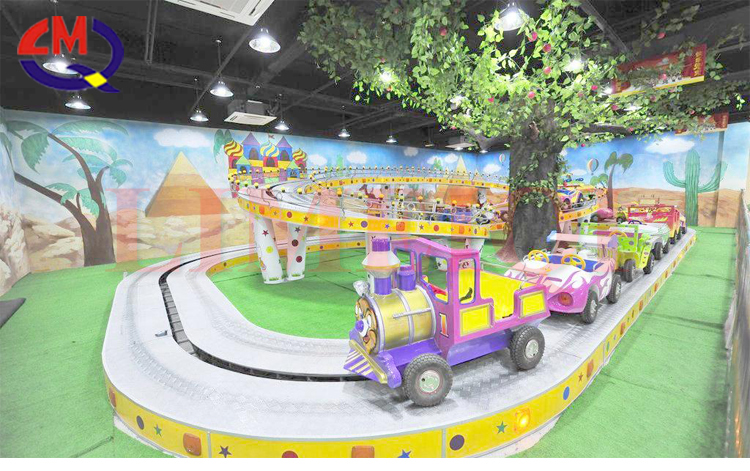 Outdoor amusement park roller coaster mini shuttle train kids electric racing track train games for sale