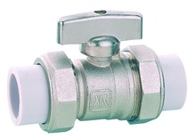 brass ball valve, Brass PP-R ball valve with double female union, chrome/ nickel plated brass valve