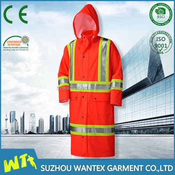 heavy duty long waterproof raincoats fabric with reflective strips