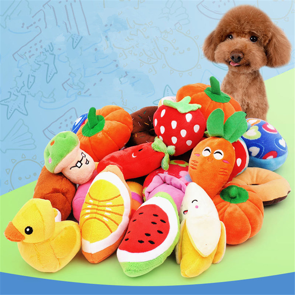 Simulation Fruits Vegetables Pillow Duck Watermelon Carrot Animal Sound Plush Teeth Pet Dog Toy