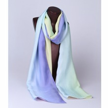 100% Silk Chiffon Long Scarf Gradient Color Printing Women Shawl