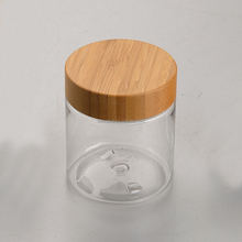 68mm bamboo lid for 250g clear empty plastic pet 250ml cosmetic jar clear plastic jar