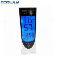 2015 hot selling indoor with clock digital LCD display decorative thermometers