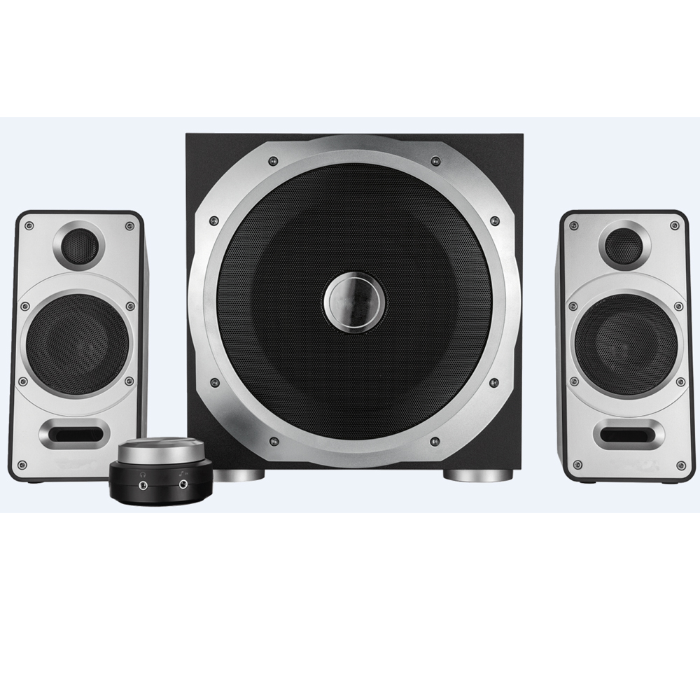 Small Powerful 2.1 Speaker Set Including Wooden Subwoofer with Two Satellites and A Total Power Output of 120 Watt