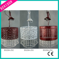 Modern white /copper hollow carved dum lampshade wedding home hanging decorative pendant chandelier lamp lighting w/ clear beads