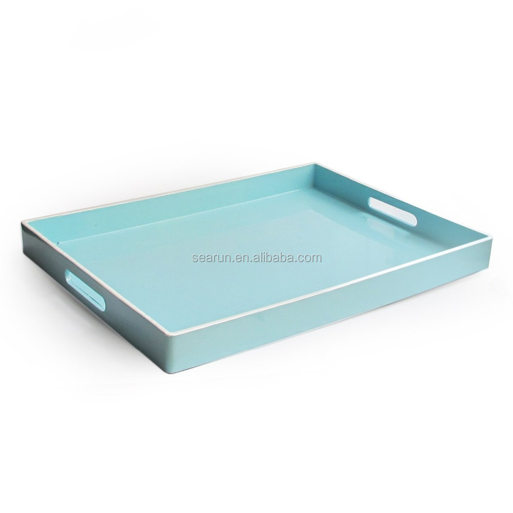 Rectangular Tray with Handle Six Color Wooden Tray