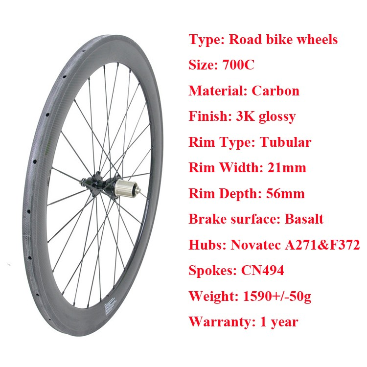 Today full carbon wheelset 700c 56mm Depth road bike carbon wheels