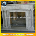 Vein white marble fireplace with column decoration
