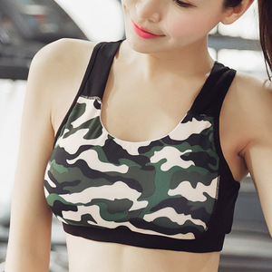 2017 high quality Camouflage printing women Yoga shirt vest top from China factory QY-86070