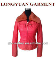 Newest PU leather jacket with fur collar for ladys