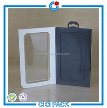 Custom printing hanging phone cases packing boxes with left-open clear PVC door