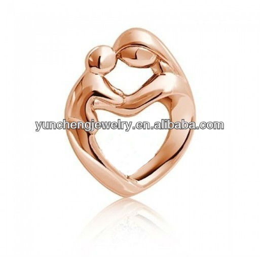 YCP0531(1) Rose Gold Plated Mother Child Heart Pendant Silver Jewelry