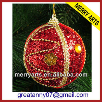 Outdoor decorating red glitter styrofoam christmas for Outdoor merry christmas ornaments