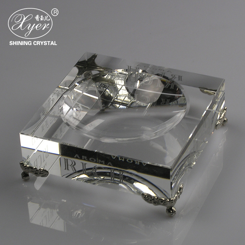 Modern style China factory square lead crystal ashtray wholesale