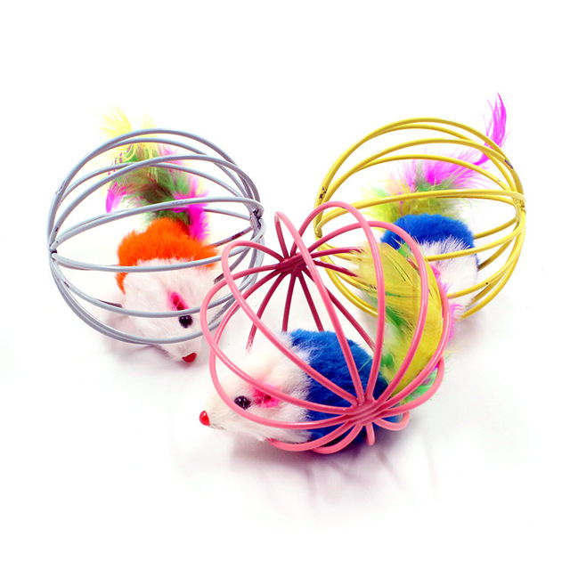 RoblionPet Fun Pet puppy Toys False Mouse in Rat Cage Ball For Pet Cat Kitten Playing Newest cat toys interactive cheap price