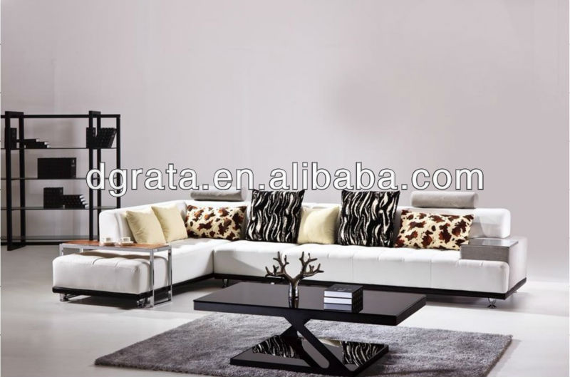 2013 white sofa with coffee table was made from high density sponge and genuine leather
