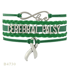 Infinity Love Hope Silver Charms Cerebral Palsy Mom Grandma Auntie Ribbon Green Leather Wrap Bracelets