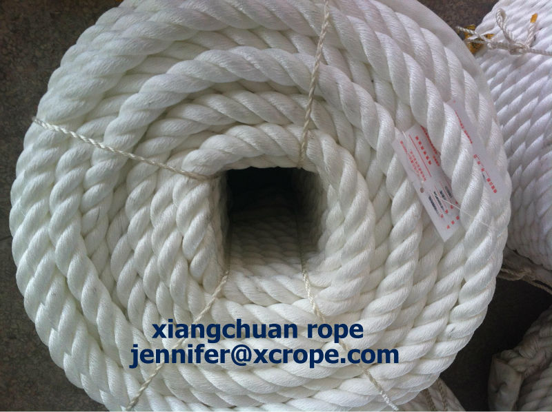 32mm 220M white polyamide yarn rope/mooring rope/3 strands pp fiber /polyester rope dia6mm-135mm