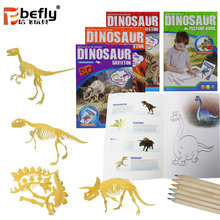 2018 Kids educational science kit diy skeleton dinosaur toy with painting book