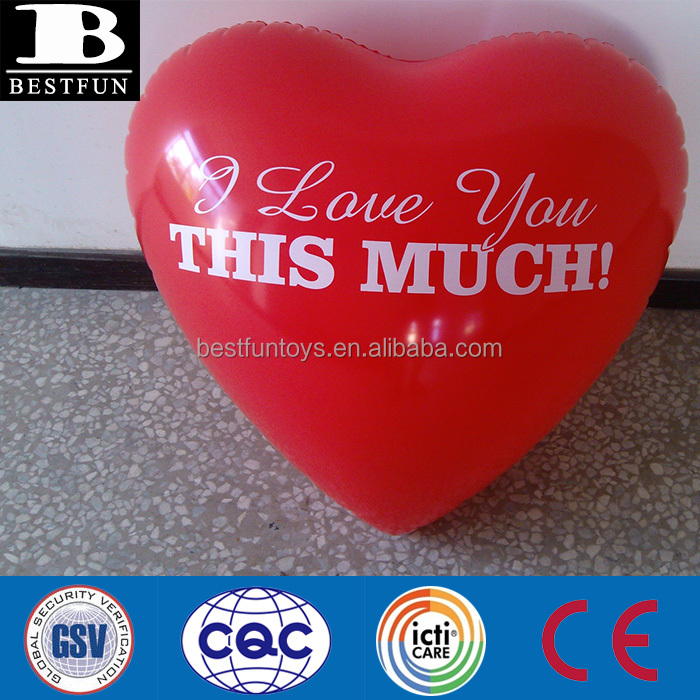 custom made PVC inflatable heart plastic lovely toys plastic heart shape pillow