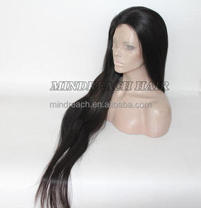 Hot selling 100% human hair full lace wig, 40inch long black straight hair wig