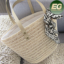 New design simlpe style straw bag mexico with free scarf T984