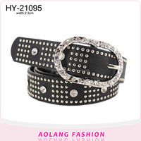 High quality black studded revits women's fashion pu leather belt