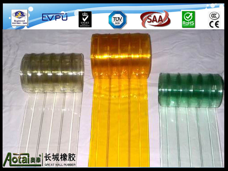 pvc curtain with color transparents clear red green orange for door