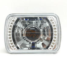 Driveye 4x6 inch Rectangular LED Projector Headlights H4 Semi Sealed Beam LED Headlight with White LED Halo Turning Signal