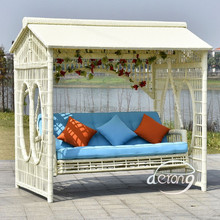 Derong outdoor furniture home garden rattan swing chair hoammock style swing sofa bed