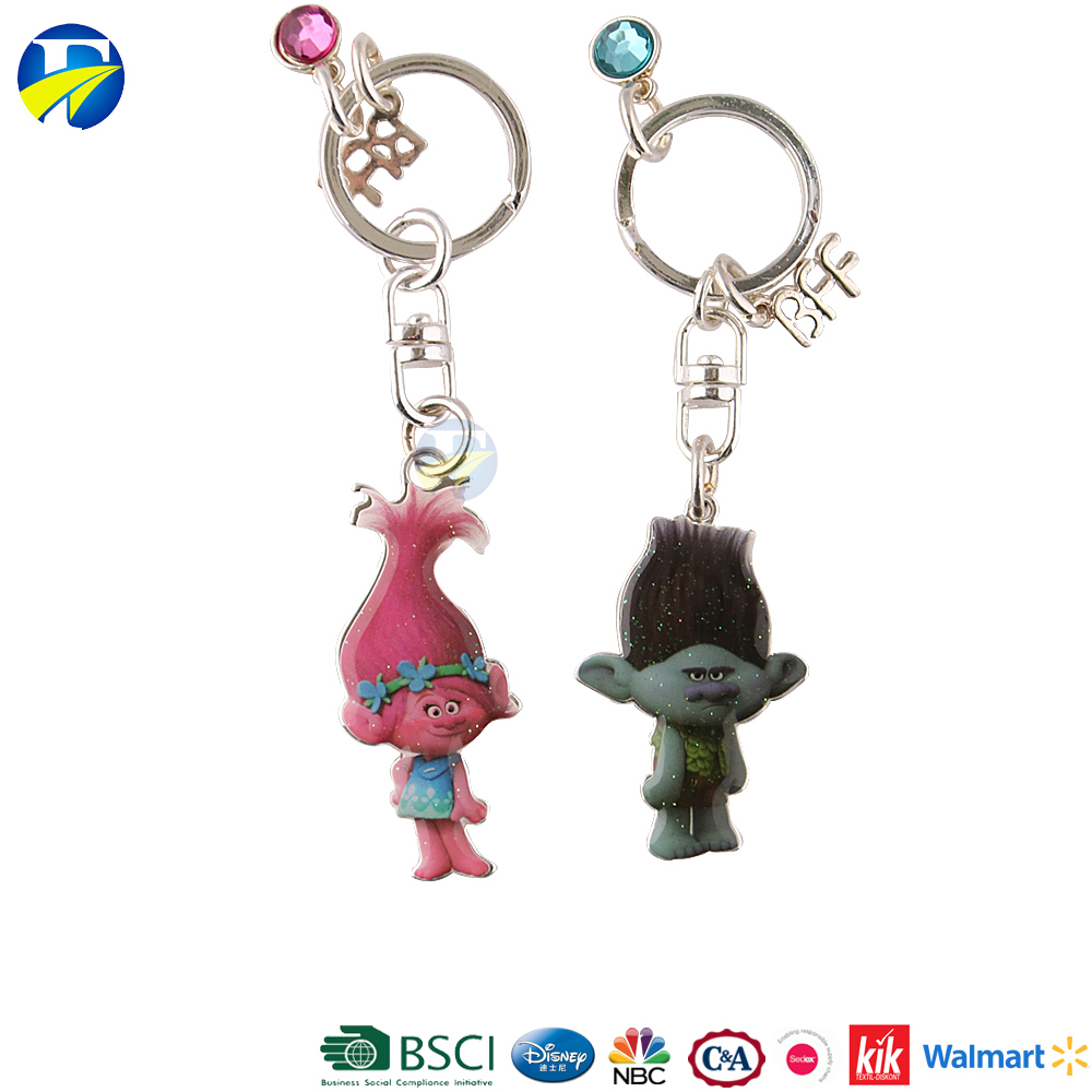 F J brand trolls metal 3D key chain parts wholesale metal souvenir custom cute keychain manufacturers in china