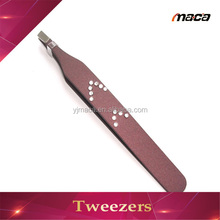 TW1263 customize eyebrow slanted tweezer with rhinestone