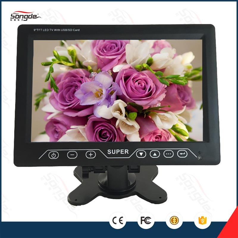 Touch button small used tft led car 9 inch lcd monitor mini tv