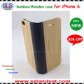 2015 New and Hot Sale book style case with wooden back for iphone 6 bamboo case for iphone 6 and 6 Plus IPC365