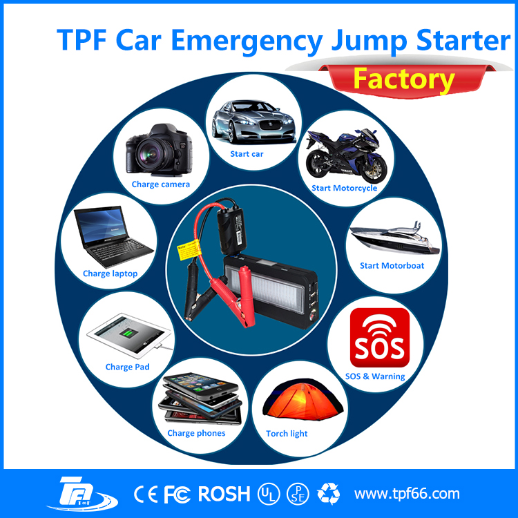 TPF 16200mah multi-function portable emergency car jump starter powerbank booster