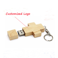 Top Sale Wooden Cross Shape USB Flash Drive 1GB Bulk Cheap