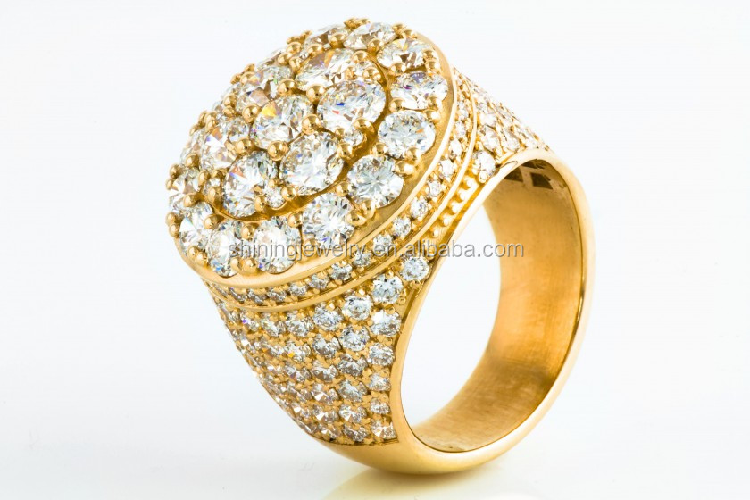 2015 new style micro pave mens iced out cz hip hop gold ring