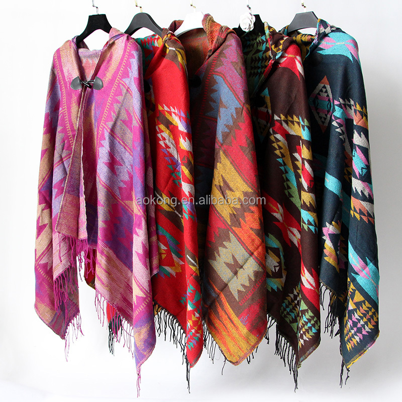 Hot sale 5 colors women warm cape shawl wraps acrylic winter button tribal aztec poncho