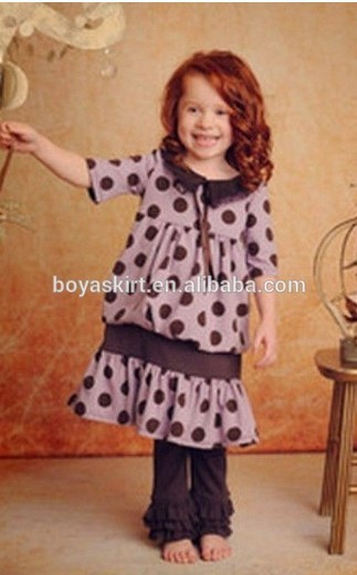 new design for 2014 little girl clothes polka dots ruffle outfit fashion top Dress
