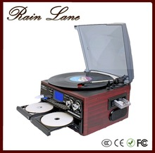Rain Lane Multiple Function Double CD Wooden Gramophone USB SD Bluetooth Vinyl Record Player
