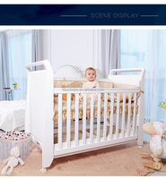 High quality solid PINE wood baby bed, net bed for babies