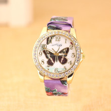 Fashion Romantic Paris Ladies Watches With Crystal Butterfly Best Gifts For Her