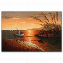 Handmade glitter printing sunrise boat scenery oil painting seascapes acrylics