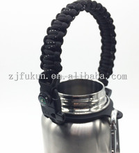 fire starter survival paracord bottle handle with silver carabiner 3 pieces set