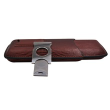 With cigar cutter 3 Counts Cigar Cases Lizardstripe leather case