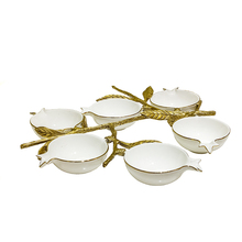 Special New Design Porcelain Dinner Set Six Ceramic Bowls with Antique Brass